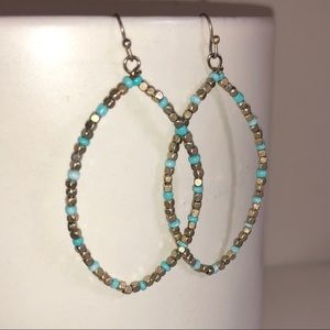 Anthropologie Beaded Blue Gold Loop Drop Earrings